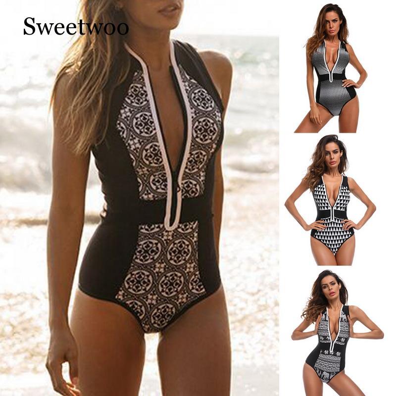 Women 39 s Swimwear Piece Set Zipper Cardigan Swimsuit Vintage Print Bikini Mujer Biquinis Summer Fashion Beachwear
