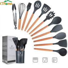Silicone Kitchen Set 8/9/11/12PCS Utensils Cooking Sets kit Accessories Gadgets Tools with Holder Box Nonstick