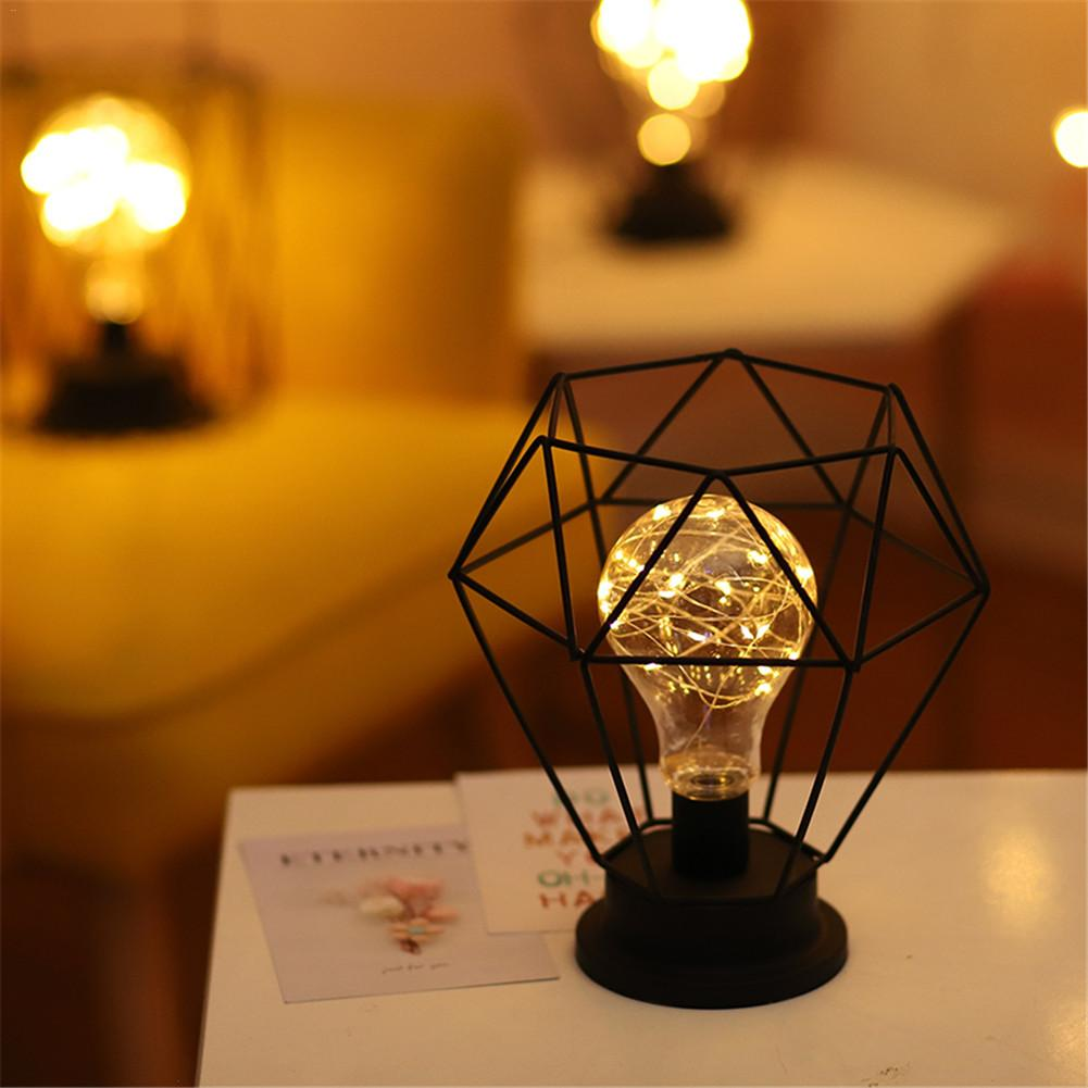 Ретро железные художественные настольные лампы для спальни, гостиной, светодиодный прикроватный светильник, ночник, Рождественский декора...