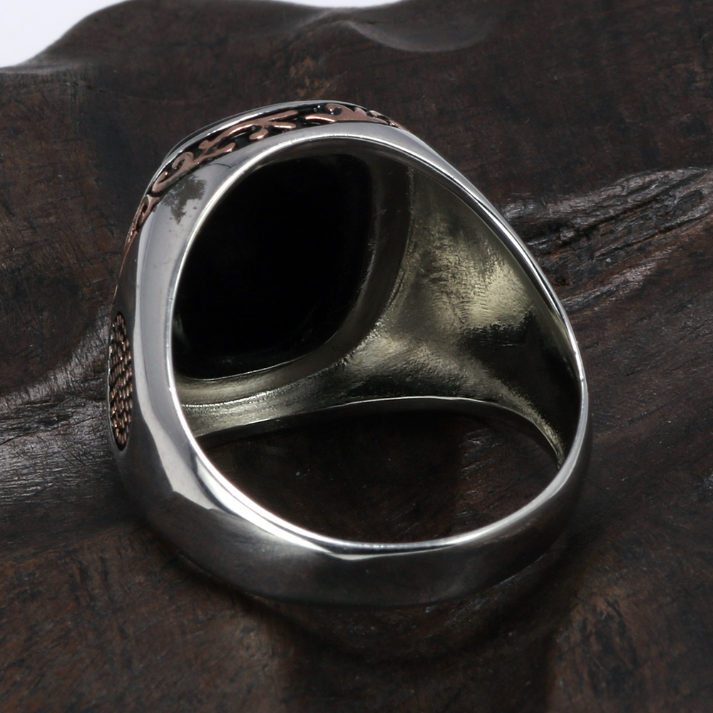 Image 3 - Real Pure Mens Rings Silver s925 Retro Vintage Turkish Rings For Men With Natural Black Onyx Stones Turkey JewelryRings   -