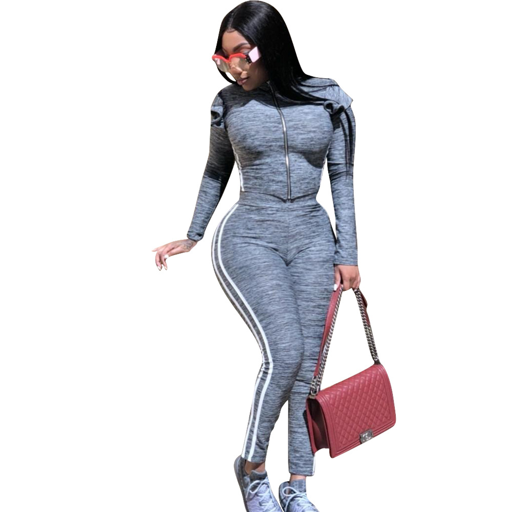 2019 Autumn European And American Women's Webbing Stitching Fungus Sports And Leisure Two-piece