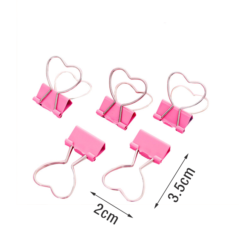 5pcs/lot Mini Heart Love Metal Binder Clips Clothes Photo Paper Peg Pin Clothespin Craft Postcard Clips Home Wedding Decoration