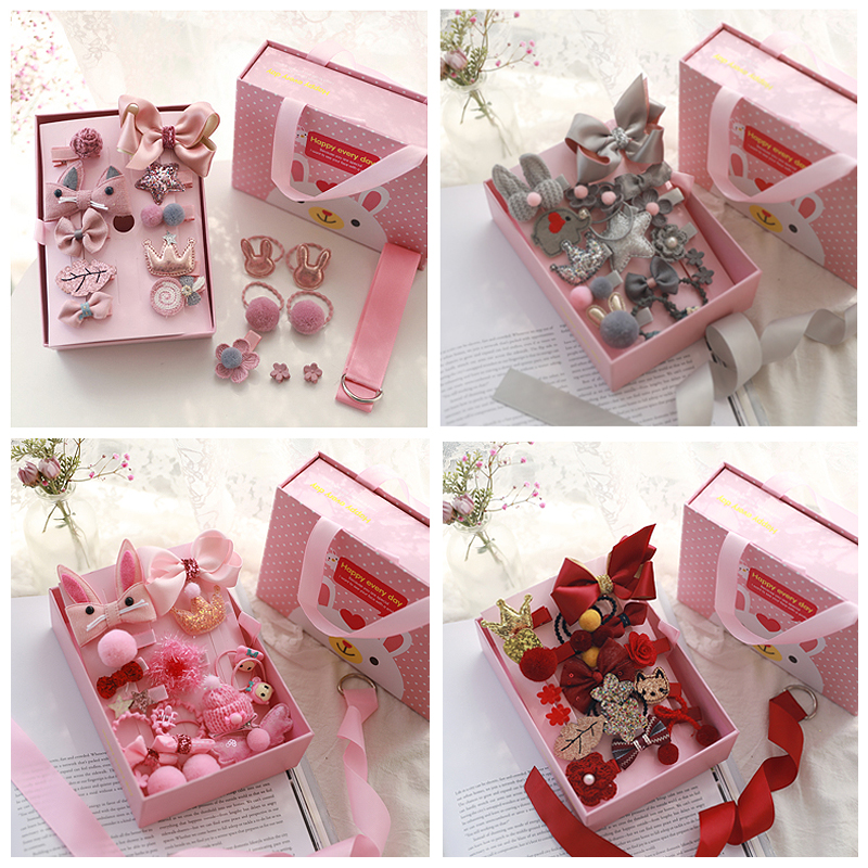 10/18Pcs/Gift Box Children Baby Cute Cartoon Flower Hair Clips Girl Sweet Fabric Soft Hairpins Barrettes Kids Hair Accessories