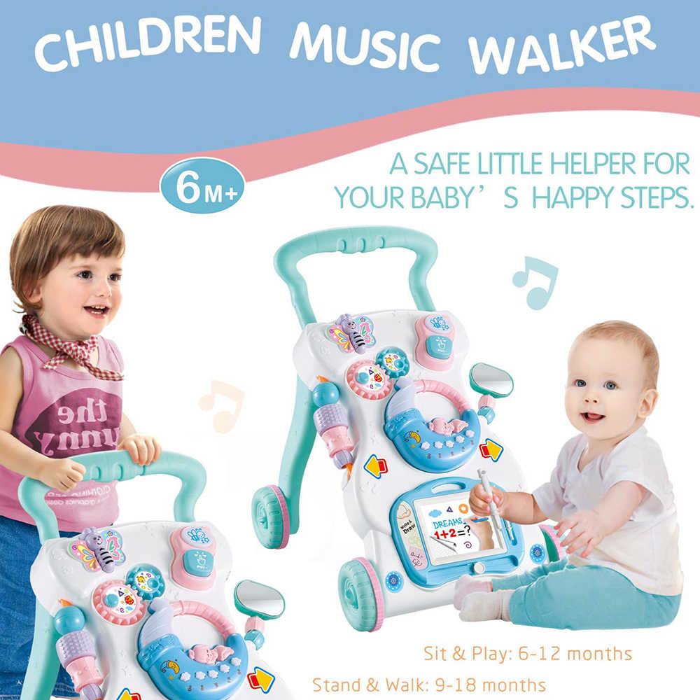 Balita Trolley Musik Walker untuk Anak Multifuctional Balita Walker dengan Sekrup Yang Dapat Disesuaikan To Sit Still Belajar Penolong