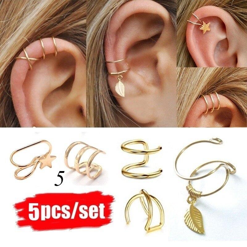 2019 Fashion 5Pcs/Set Ear Cuffs Gold Leaf Ear Cuff Clip Earrings For Women Climbers Earcuff No Piercing Fake Cartilage Earring