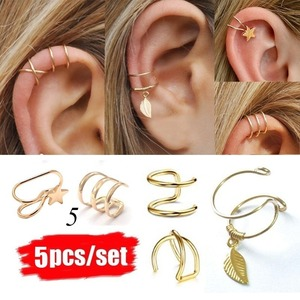 2019 Fashion 5Pcs/Set Ear Cuffs Gold Leaf Ear Cuff Clip Earrings for Women Climbers Earcuff No Piercing Fake Cartilage Earring(China)