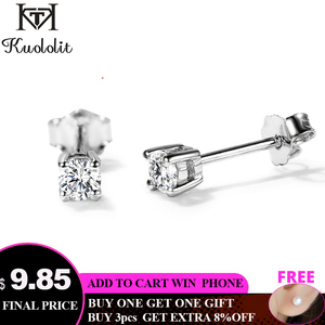 Kuololit 100% moissanite Gemstone Stud Earrings for Women Solid 925 Sterling Silver D color Solitaire Fine Jewelry New Arrival