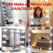 Stepless Dimmable 12V LED Makeup Vanity Mirror Light With Beauty Bulbs Kit Full Backlit Table Mirror USB Hollywood Wall Lamp