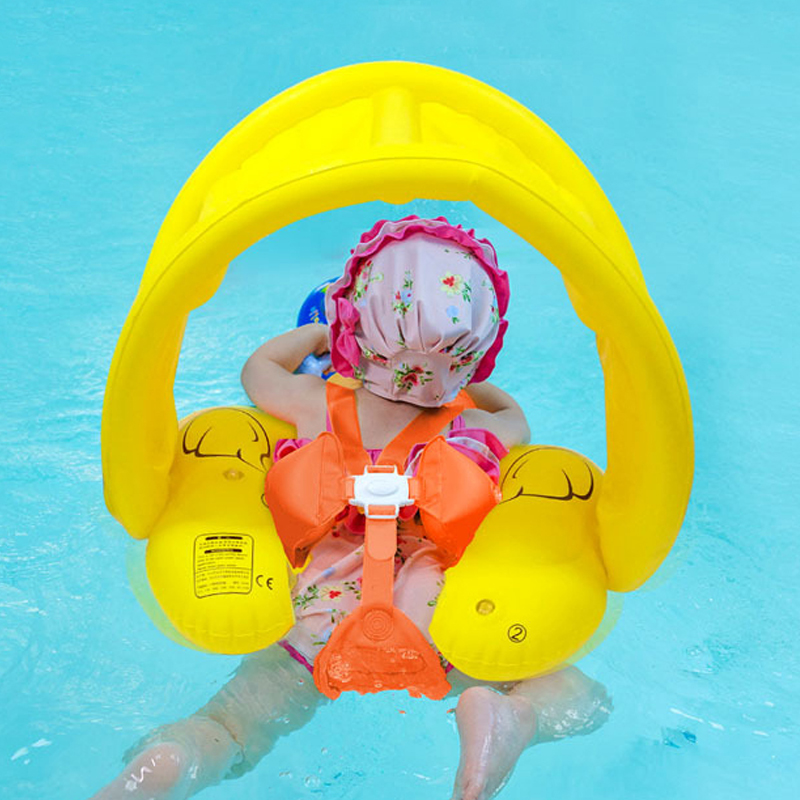 0-6 Age Children Inflatable Duck Toy Baby Sunshade Circle Swimming Ring With Awning  Newborns Swim Pool Buoys PVC Rubber Ring
