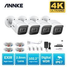 ANNKE cámara de seguridad analógica para interiores y exteriores, 4 Uds., 4K, HD, IP67, resistente a la intemperie