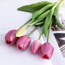Bouquet Decorative Tulips Artificial-Flowers Flores Living-Room Silicone Real-Touch Luxury