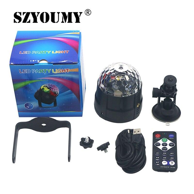 SZYOUMY USB IR Remote Control RGB LED Stage Light Magic Crystal Rotating Car Disco DJ Light 5V Mini Colorful Laser Stage Light