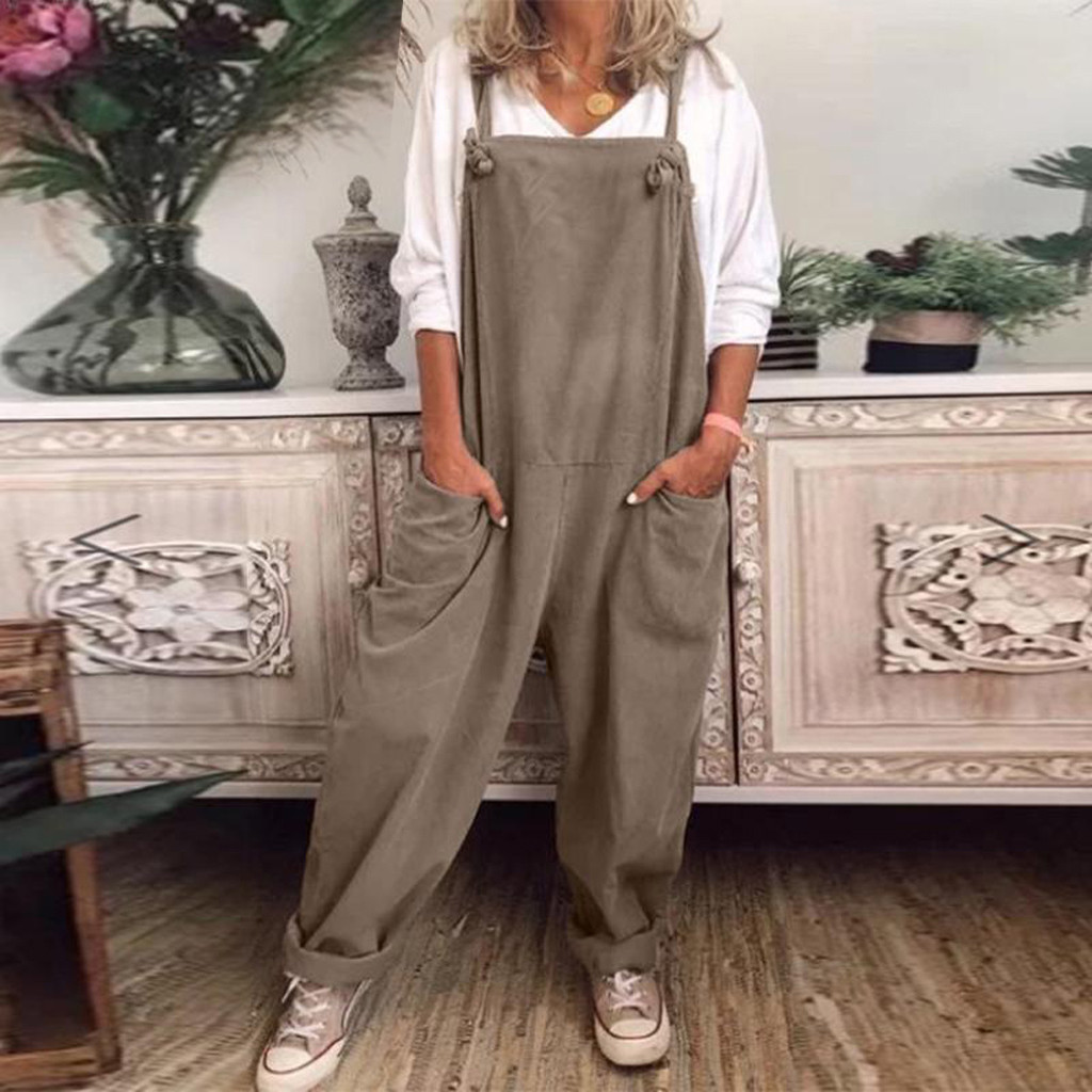 Frauen Plus Größe S-5XL Overalls Casual Lose Latzhose Strampler Volle länge Baggy Overall Stretch Trikot Crop Top Overall