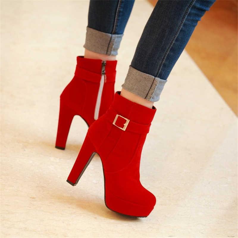 Büyük Boy 35-43 Yepyeni kadın ayakkabısı Yüksek topuklu ayakkabılar Siyah Akın Kalın Topuk Martin Çizmeler Çizmeler Moda Çizmeler #2200