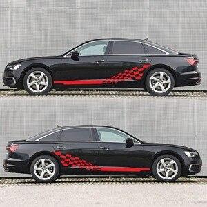 Image 5 - Voiture deux bandes latérales autocollants autocollants Auto vinyle graphiques drapeau à carreaux pour Automobiles camion SUV haute qualité voiture autocollants