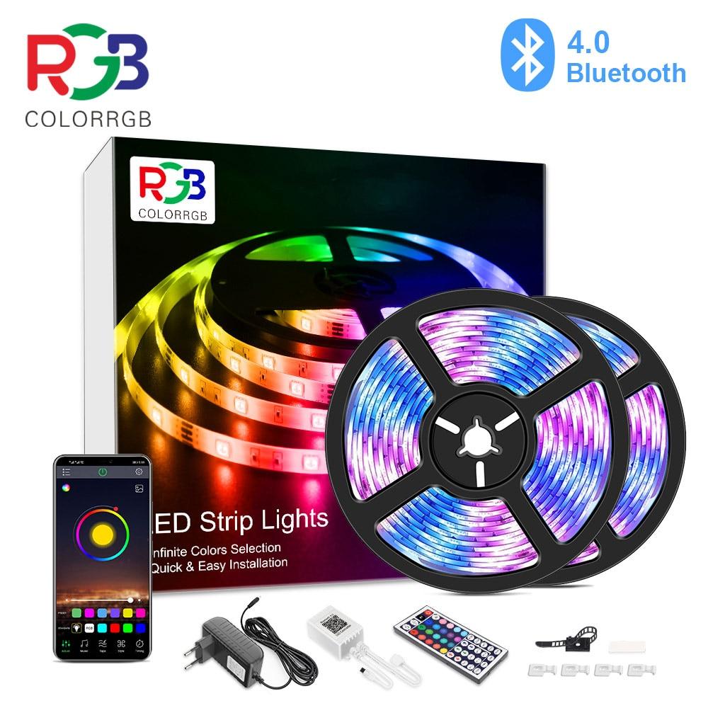 10 м, 20 м, светодиодный RGB полосы светильник, приложение Управление Цвет меняющийся светодиодный SMD 5050 RGB светильник полоски с радиочастотным ...