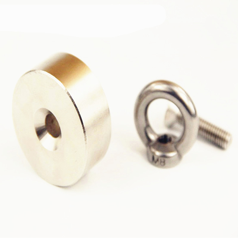 2 pcs NdFeB Lifting Magnet about Dia. 50x20 mm with M8 Screw Countersunk Hole N52 Neodymium Rare Earth Permanent Magnet