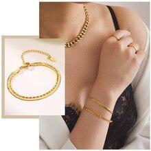 Chic plat serpent chaîne Figaro lien Bracelets pour femme bijoux tempérament or couleur réglable en acier inoxydable bracelet cadeaux