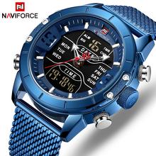 NAVIFORCE zegarek męski pasek z siatki zegarek wojskowy 30m zegarek wodoodporny LED zegarek kwarcowy Sport zegarek męski Relogios Masculino tanie tanio 24inch Podwójny Wyświetlacz QUARTZ 3Bar Klamra STAINLESS STEEL 15mm Hardlex Papier 45mm NF-9153 23mm ROUND Kompletna kalendarz