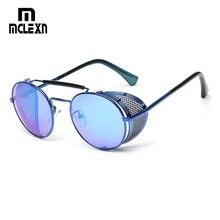 MCLEXN NEW Retro Steampunk Sunglasses Round Designer Steam Punk Metal S