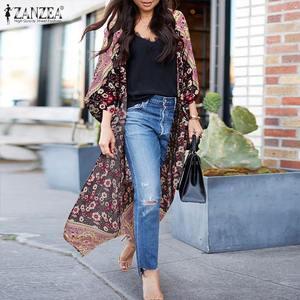 Damska bluzka z frędzlami ZANZEA elegancka z nadrukiem Kimono Cape z długim rękawem Blusas kobieta Casual długie topy Plus rozmiar tunika 5XL