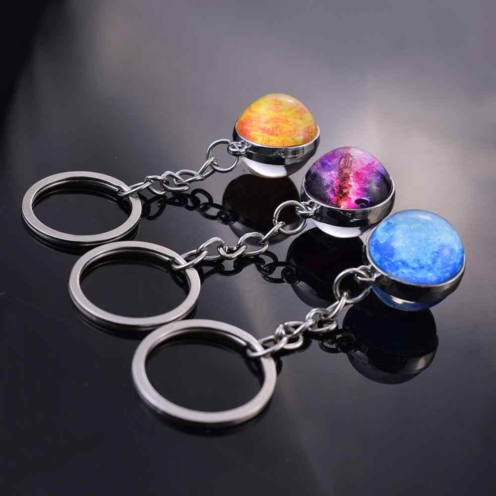 Dwustronne szkło kryształowe brelok-piłeczka księżyc ziemia słońce okrągły brelok Galaxy Planet mgławica jowisz wisiorek świąteczne prezenty