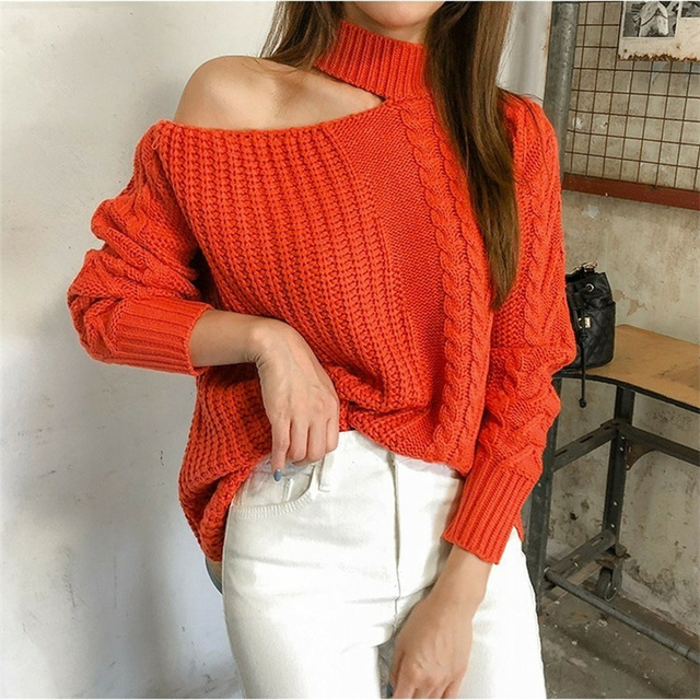 Ailegogo New 2021 Women's Sexy Sweaters Casual Minimalist Tops Sexy Korean Style Knitting Off Shoulder Ladies Autumn Winter 2