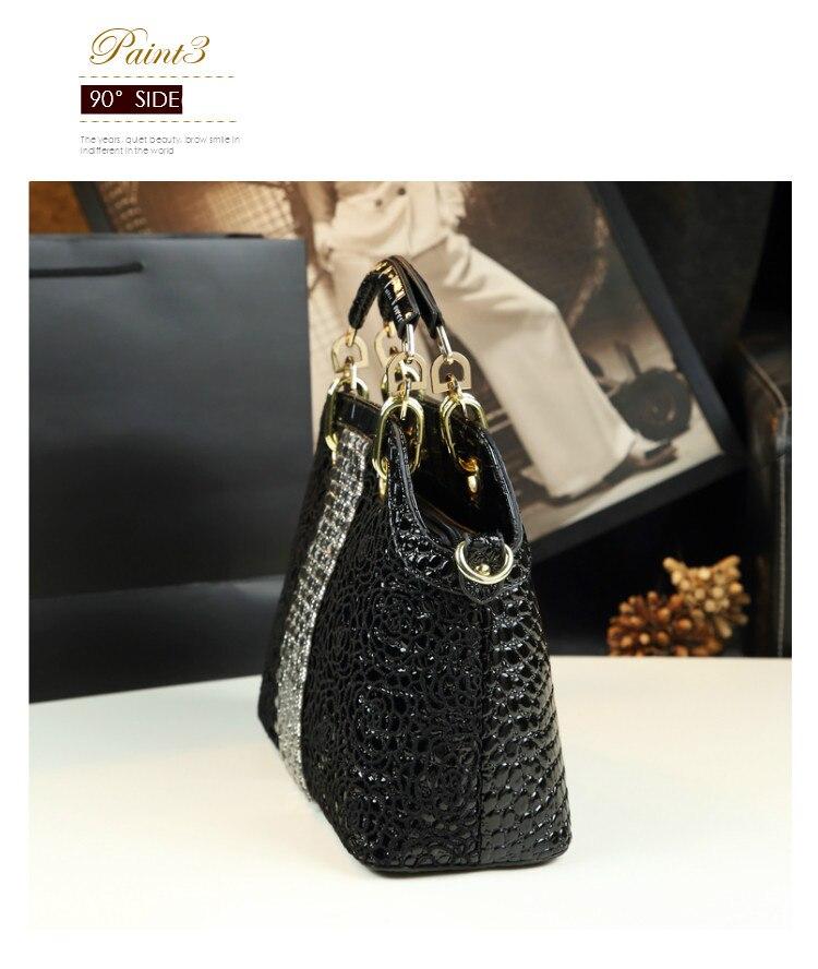 Moda de luxo diamantes bolsa feminina couro