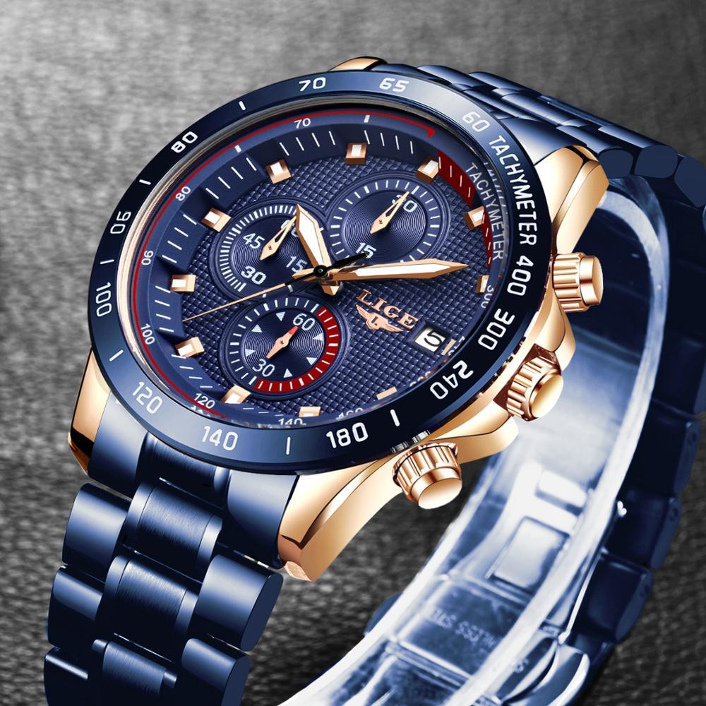 LIGE New Fashion Casual Mens Watches Top Brand Luxury Blue Watch Stainless Steel Sport Waterproof Quartz Watch Men Reloj Hombre