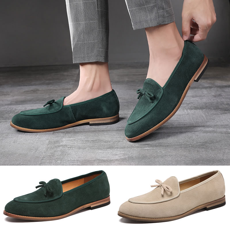 Suede Leather Men Loafer Shoes Fashion Slip On Male Shoes Casual Shoes Man Party Wedding Footwear Big Size 37-47