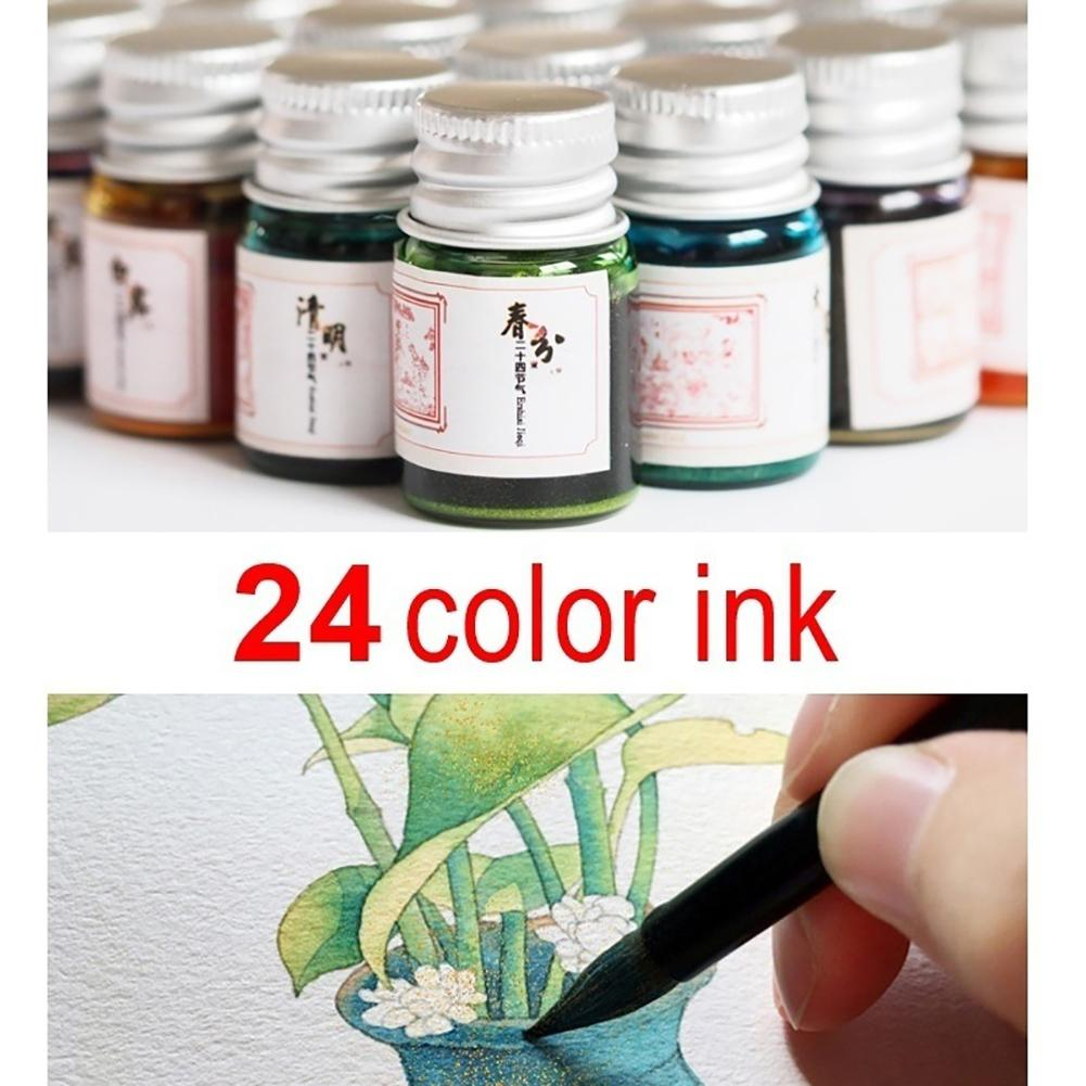 5ML 19 Colors Calligraphy Writing Painting Fountain Pen Ink With Glitter Powder
