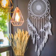 Grand attrape-rêves en plumes blanches, 1 pièce, carillon de Style nordique, décoration suspendue pour chambre d'enfants, fournitures pour fête de mariage 110-120cm