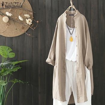 2019 Plus Size ZANZEA Spring Autumn Women Casual Lapel Long Sleeve Vintage Cotton Linen Loose Work OL Long Shirt Cardigan Blouse 4