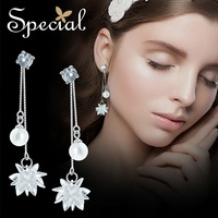 Special Brand Fashion 925 Sterling Silver Drop Earrings Shell Beaded Ear Pins Crystal Earrings Jewelry Gifts for Women S1730E