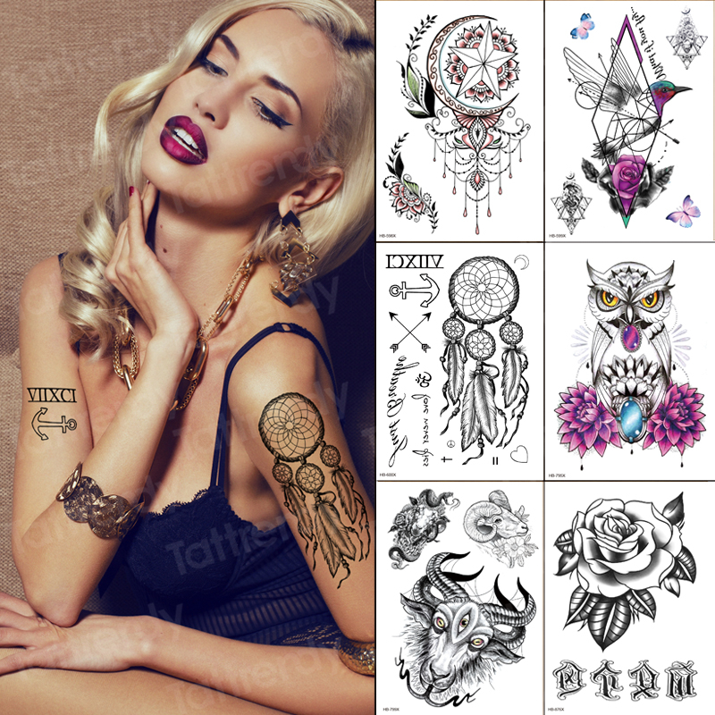 6pcs/lot Temporary Tattoo Sticker Flower Dream Catcher Lace Henna Tattoo Jewelry Owl Model Tattoos Women Fashion Wholesale Sets