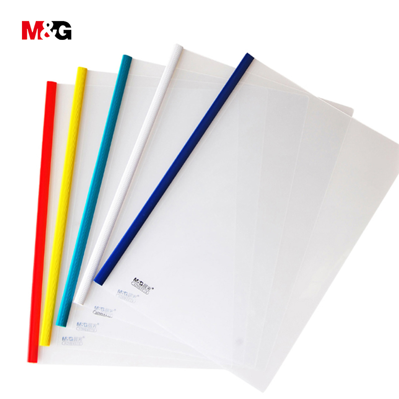 M&G 5pcs Transparent A4 File Folder For Documents Waterproof Pp Folder For Papers Colored School Supplies Stationery Office Gift