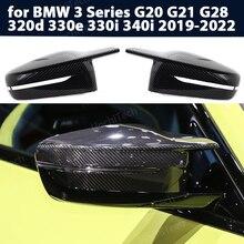 2pcs modified LHD Carbon Fiber Pattern Mirror cover caps for BMW 3 Series G20 G21 G28 320d 330e 330i 340i 2019-2022 M4 style RHD