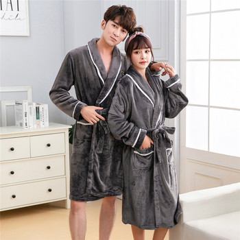 Kimono Bathrobe Gown Winter Thick Flannel Robe For Lovers Sleepwear Home Clothes Nightgown Coral Fleece Soft Homedress Nightwear soft flannel coral nightwear fleece lovers dress men women s warm super long bath robe mens kimono bathrobe lace up gown robes