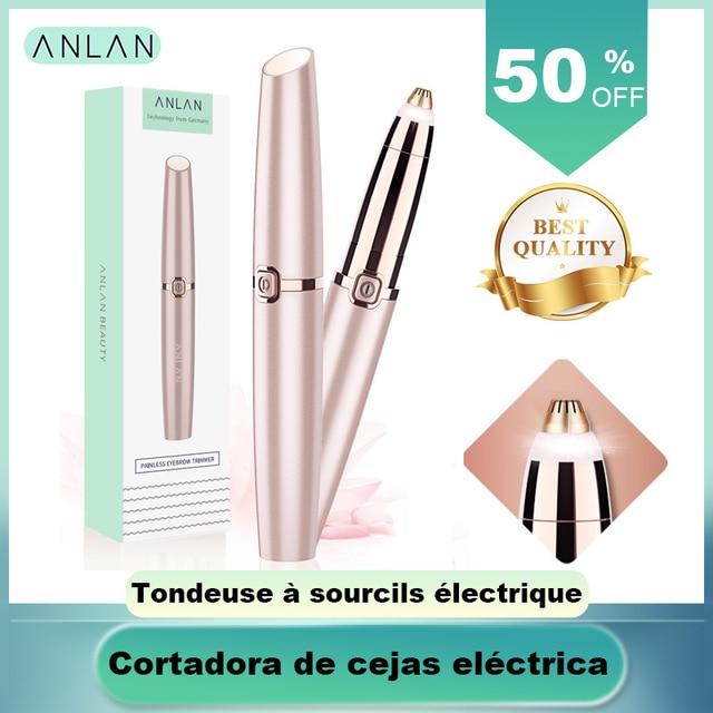 ANLAN Electric Eyebrow Trimmer Makeup Painless Eye Brow Epilator Mini Shaver Razors Portable Facial Hair Remover Women depilator