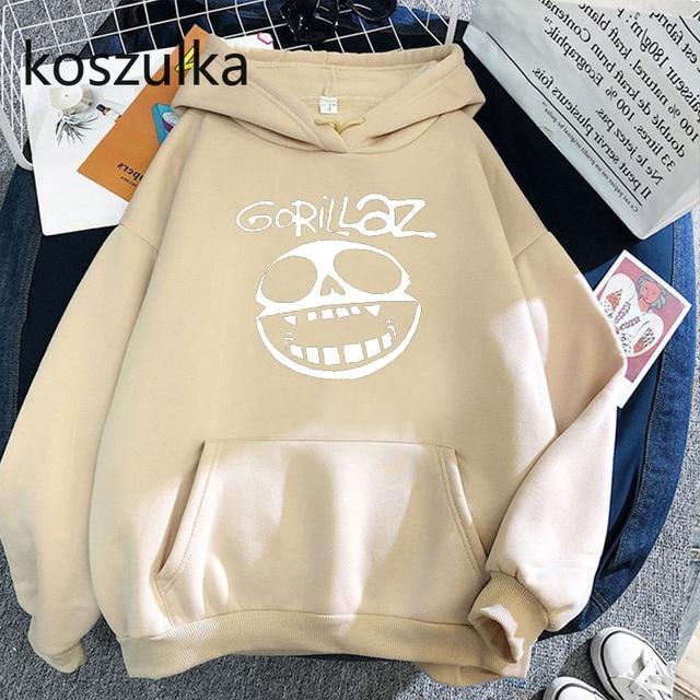 Gorillaz Skull  Funny Print Hoodie Kpop Korean Style Loose Sweatshirt Korean Fashion Hip Hop All-match Leisure Harajuku Hoodie 4