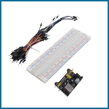 цена на S ROBOT MB102 Power Supply Module 3.3V 5V+Breadboard Board 830 Point+65PCS Jumper Cable EC4