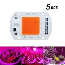 5Pcs LED 성장 COB 빛 칩 전체 스펙트럼 AC 220V 10W 20W 30W 50W 성장을위한 필요 없음 꽃 묘목 성장 식물 조명