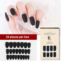 24PCS Reusable Detachable Fake Matte Tips Press On Nail for Long False Nails Art Manicure Fake Extension Tips with Sticker Glue