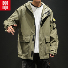 BQODQO Black Fashion Baggy Casual Jacket For Men Army Autumn Japan Military Style Coat Parade Cotton Streetwear Jackets Male NEW недорого