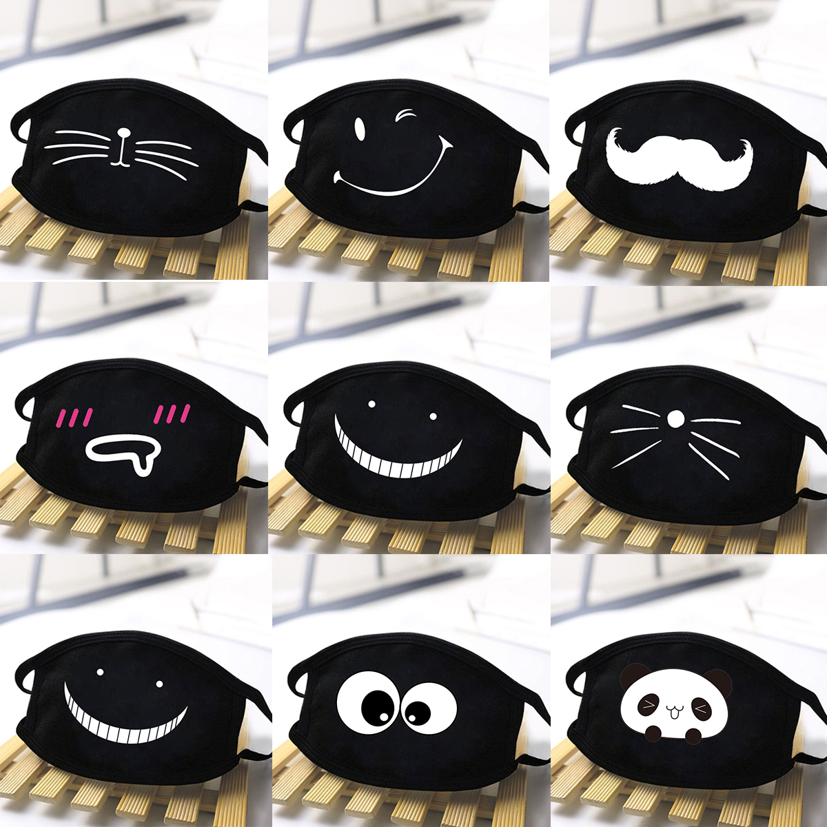 Kawaii Cute Cat Print Winter Masks Black Mouth Mask Anti Haze Washable Reusable Dustproof Mask Cartoon ExpressionTeeth Dust Mask