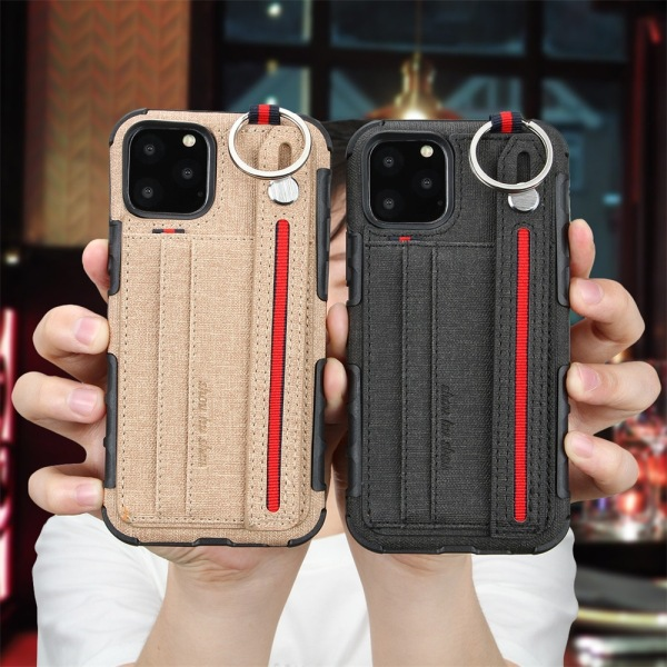 Fabric Cloth Case with Card Slot Wrist Strap Shockproof Anti fall Back Cover Case for iPhone 11 & 12 Pro MAX