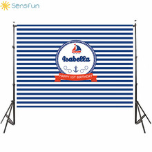 Buy Sensfun 7x5ft Ship Anchor Navy Striped Nautical Party Background Vinyl High Quality Computer Printed Wall Backdrop 220x150cm directly from merchant!