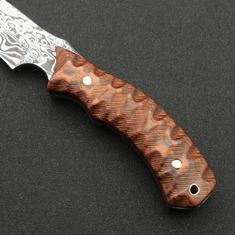 Купить с кэшбэком DuoClang Outdoor knife Damascus 440C Steel Micarta Handle Fixed Blade Knife Wilderness Survival Knives with Leather Sheath