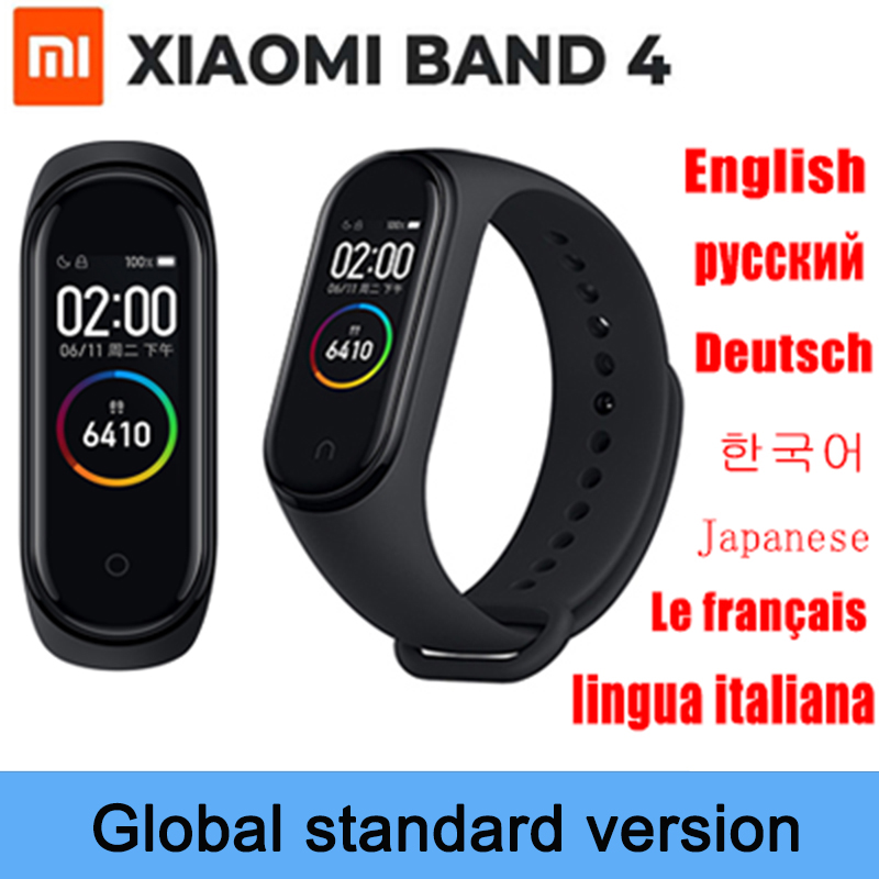 In stock Xiaomi Band 4 Smart Bracelet 0.96'' AMOLED Color Touch Screen Heart Rate Fitness Wristband Mi band 4 Global Smart watch image
