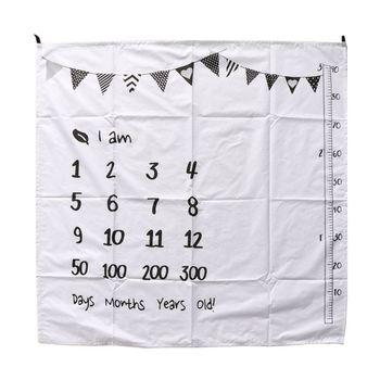 100 × 100 センチメートルベビーマイルストーン毛布モスリン新生児写真撮影の背景の小道具幼児おくるみラップベッドキルト子供バスタオル u50F